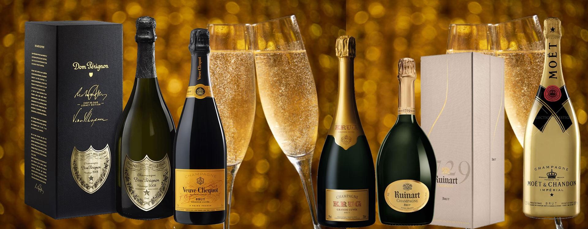 Champagnes Krug, Veuve Cliquot, Dom Pérignon, Moët Chandon, Ruinart